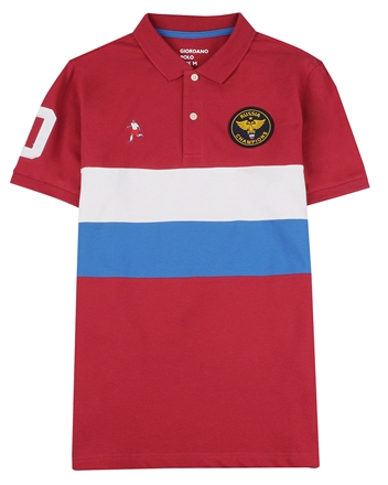 男裝世足系列立體徽章短袖POLO衫
