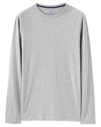 簡約素色基本款磨毛圓領長袖T恤