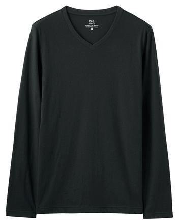 簡約素色輕磨毛羅紋V領長袖T恤