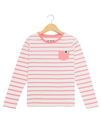 童裝撞色條紋單口袋棉質長袖T恤