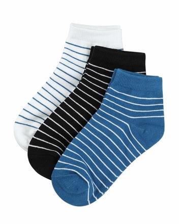 童裝簡約素色條紋短襪(三雙入)