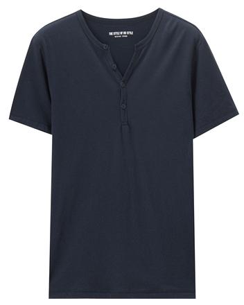 男裝素簡約色亨利領T恤