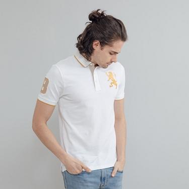 男裝勝利獅王漸層刺繡彈力萊卡POLO衫