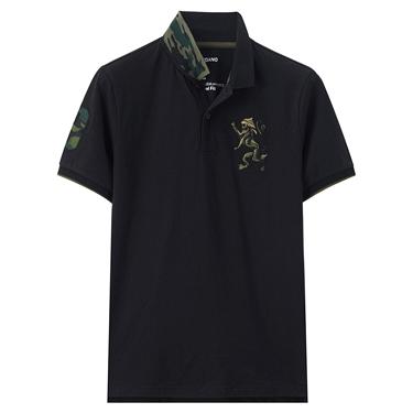 男裝勝利獅王刺繡迷彩彈力萊卡POLO衫