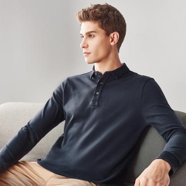 男裝純棉磨毛素色長袖POLO衫