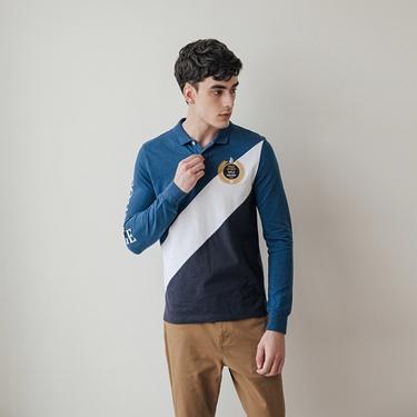 男裝皇家刺繡長袖POLO衫