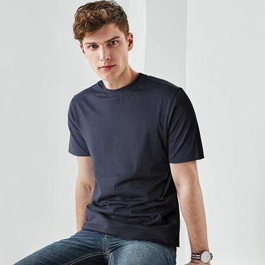 男裝純棉經典素色貼領T恤