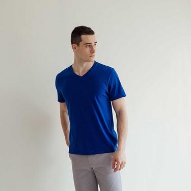 男裝修身V領素色T恤