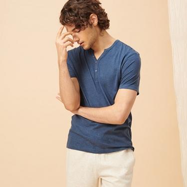 男裝簡約素色亨利領短袖T恤