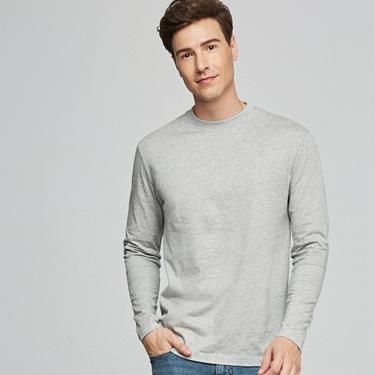 男裝素色寬版圓領長袖T恤