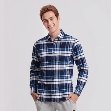 男裝純棉磨毛修身單口袋長袖襯衫