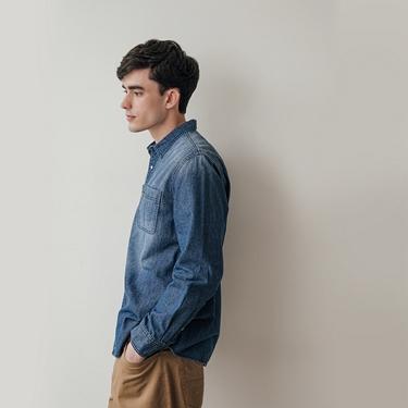男裝純棉雙口袋經典牛仔襯衫