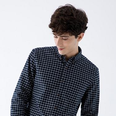 男裝法蘭絨磨毛長袖襯衫