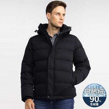 男裝90%鵝絨可機洗絨布厚羽絨外套