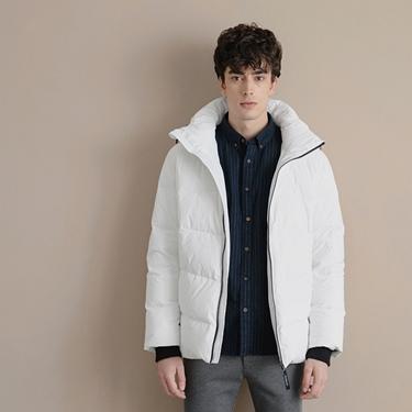 男裝輕盈保暖連帽款羽絨衣