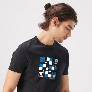 男裝英文標語印花短袖T恤