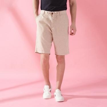 男裝抽繩腰頭棉麻休閒短褲