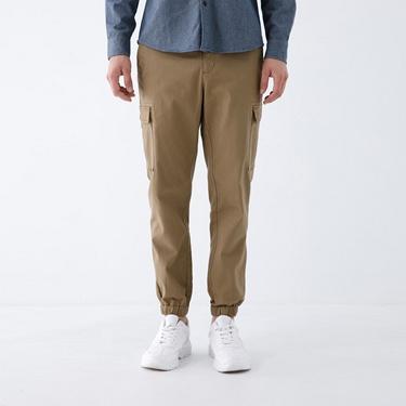 男裝工裝風素色束口褲