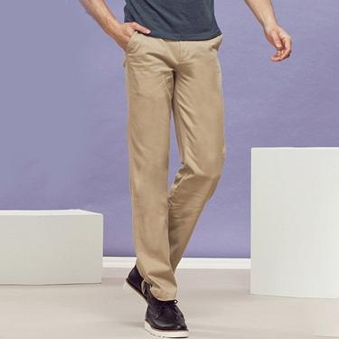 男裝中腰基本款彈性直筒休閒褲