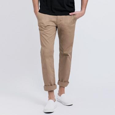 男裝簡約素色彈力棉休閒長褲