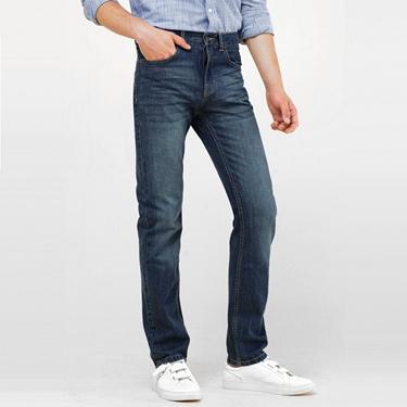 男裝水洗基本款中腰錐形牛仔褲