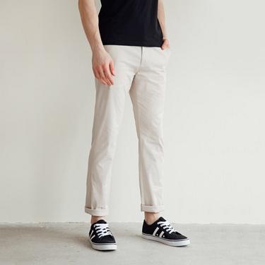 男裝素色彈性修身長褲