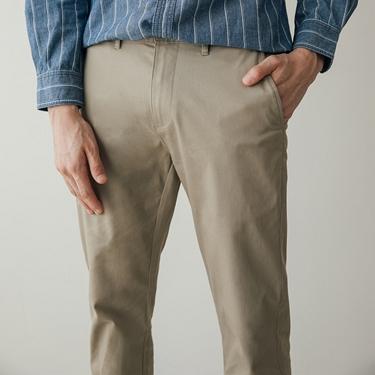 男裝防皺彈力修身卡其褲