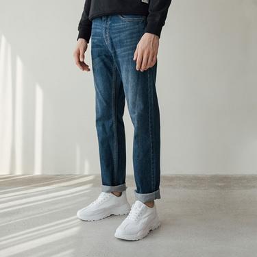 男裝基本款中腰錐形牛仔褲