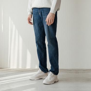 男裝Old School刷色直筒牛仔褲