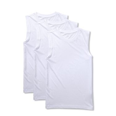 男裝素色純棉無袖背心(三件組)