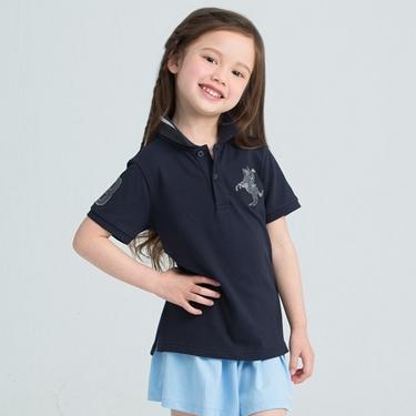 童裝拿破崙刺繡短袖POLO衫