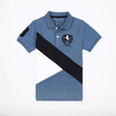 童裝拿破崙刺繡布章短袖POLO衫
