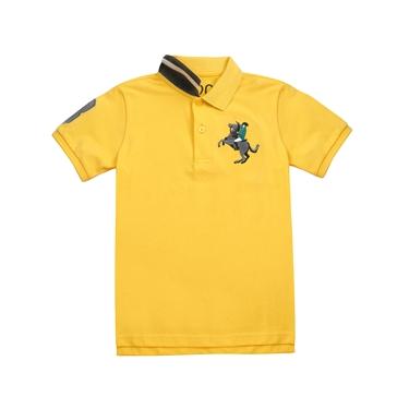童裝彩色拿破崙刺繡彈力萊卡短袖POLO衫