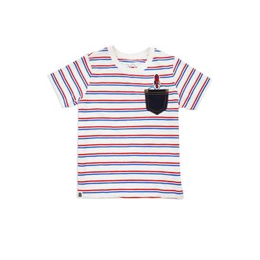 童裝條紋小火箭刺繡口袋T恤