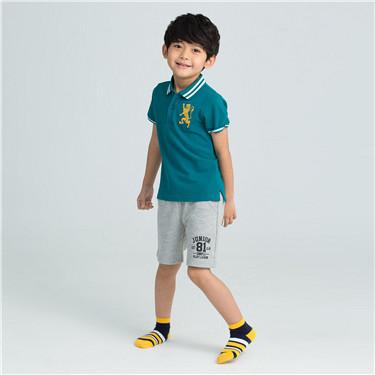 童裝撞色條紋幾何防滑短襪(三對裝)