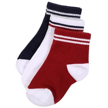 童裝拼色運動休閒短襪(三雙入)