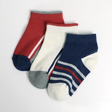 童裝撞色條紋幾何短襪(三雙入)