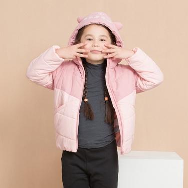 女童3D貓咪造型可拆帽舖棉外套
