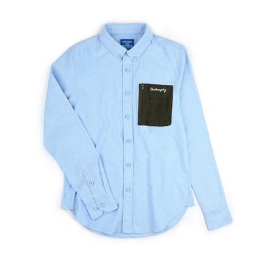 男裝口袋設計純棉長袖襯衫