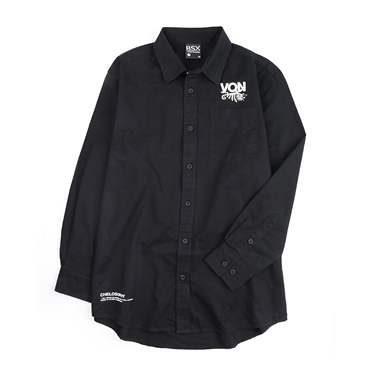 BSX 男裝印花長袖中長版襯衫