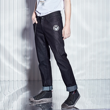男裝VON品牌印花彈性牛仔褲