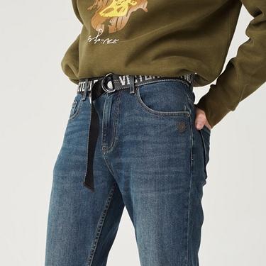 男裝VON附腰帶刷色牛仔褲