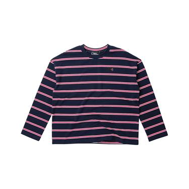 女裝VON條紋刺繡寬版長袖T恤