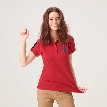 女裝勝利獅王漸層刺繡彈力萊卡POLO衫