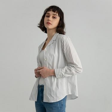 女裝西裝領條紋襯衫