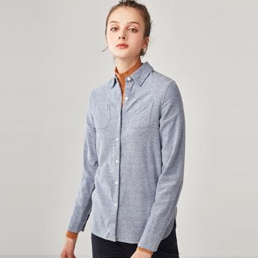 女裝純棉雙口袋法蘭絨襯衫