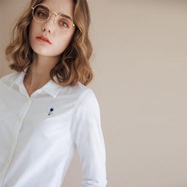 女裝經典刺繡彈力牛津紡長袖襯衫