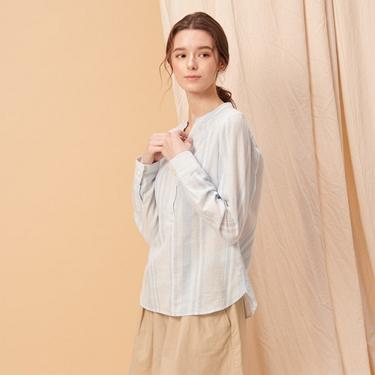 女裝棉麻無領半開襟長袖襯衫