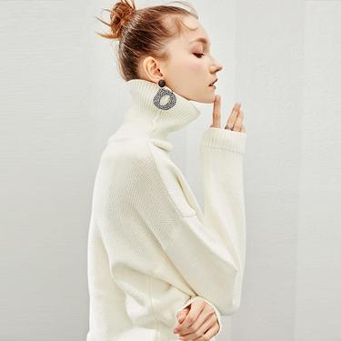 女裝素色棉質高領落肩針織衫