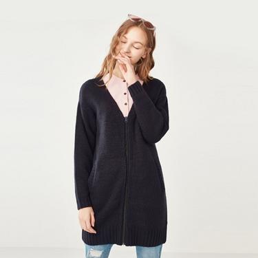 女裝羊毛混紡拉鍊無領素色針織毛衣外套